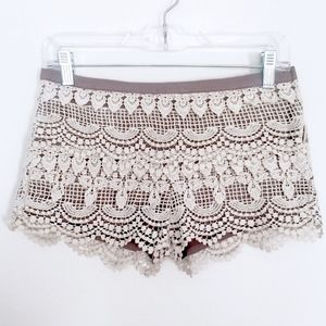 LUSH White Tiered Crochet SHORTS via Nasty Gal